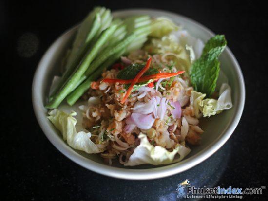 Saeng Wa Goong Kapi (Broiled Shrimp Salad with Thai Herb Sauce