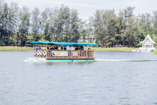 Aboard Laguna Phuket's shuttle ferry on connected lagoons to nearby hotels within the destination resort.