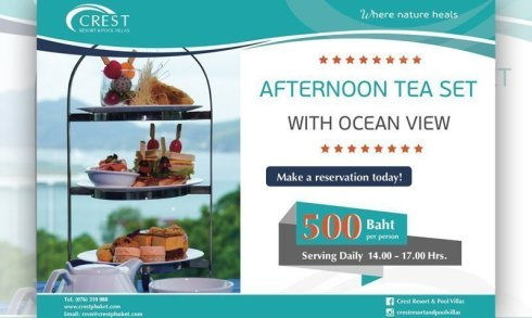 Afternoon tea set at Crest Resort & Pool Villas