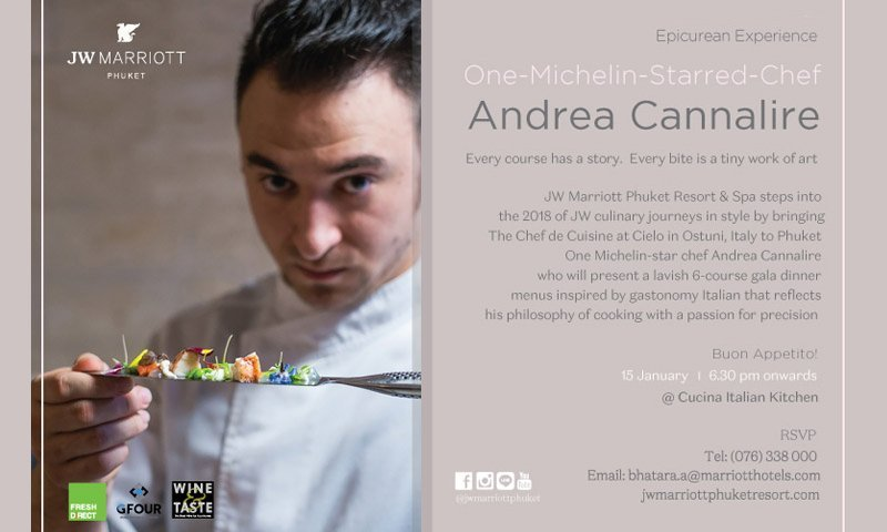JW Marriott Phuket Resort & Spa Hosts The International Michelin Star Chef Andrea Cannalire January 12 – 15