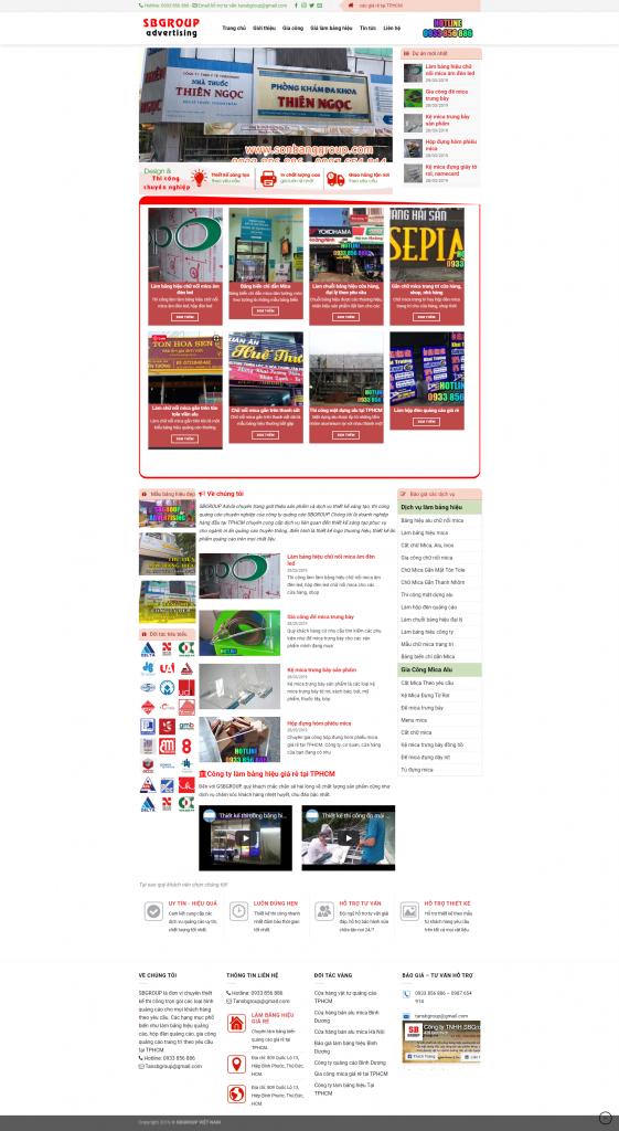 mẫu website dịch vụ quảng cáo