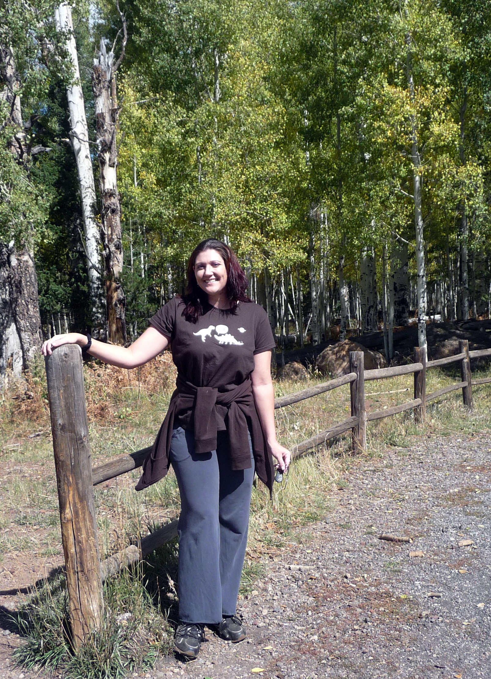 "Me (in my ""Firefly"" shirt) and aspens"