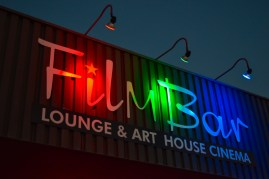 Film Bar is a unique and fun place to watch indie movies and drink local craft beer. You can also bring in your own food. I brought an entire pizza in once. 2nd St. between McKinley and Garfield. Directly across the street from Angel's Trumpet Ale House.