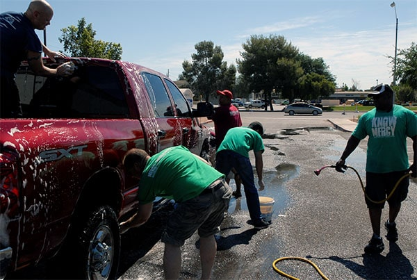 All the brothers and sisters worked side-by-side at the car wash!  It was an incredible time for fun, family and fundraising for the Lord!