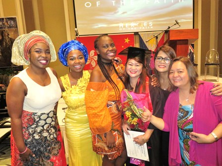 Cathy is also congratulated by the African Sisters in the Manila Church!