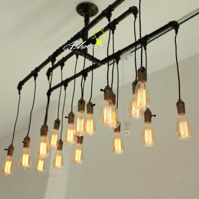 Handmade Pipe And Edison Bulbs Chandelier 8823 Shipping