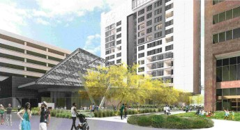 Rendering of the proposed AC Marriott from the interior pedestrian area of the Arizona Center.