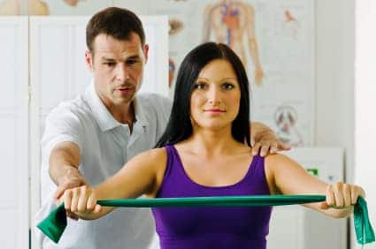 typical exercise with tubing for rotator cuff rehabilitation