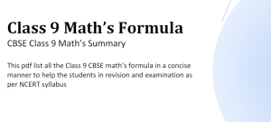 Maths Formulas pdf Class 9