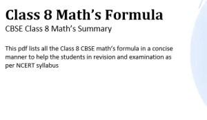 Download Maths Formulas pdf Class 8 CBSE