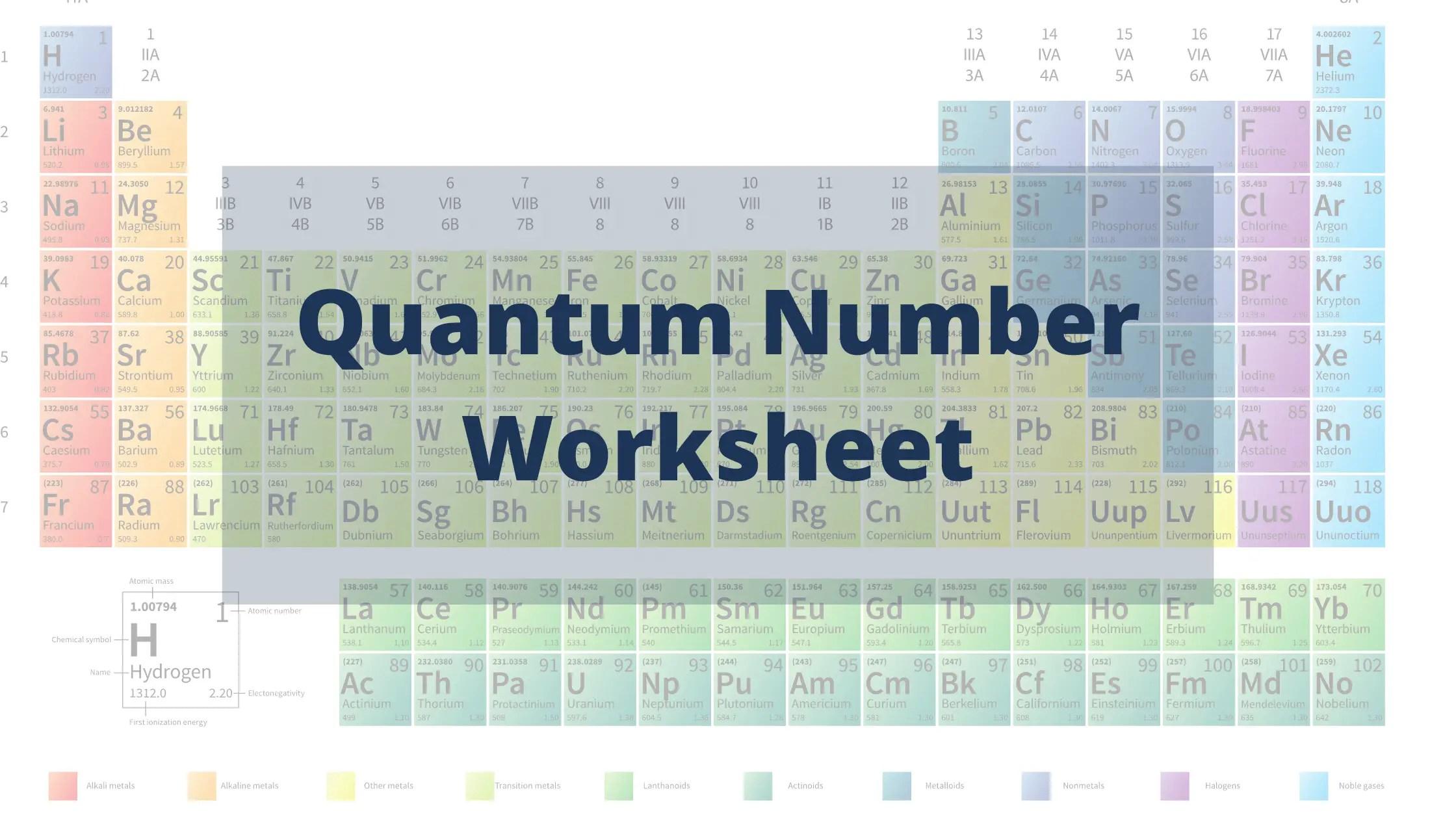 Quantum Number Worksheet