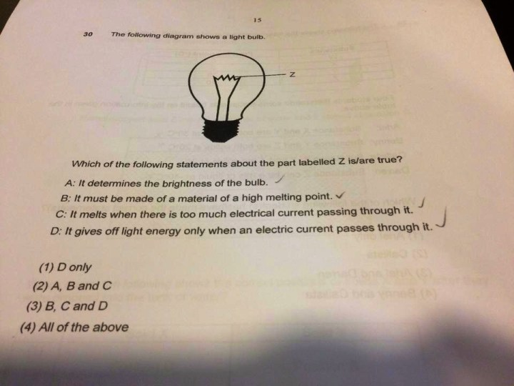P6 Science Question on Light Bulb