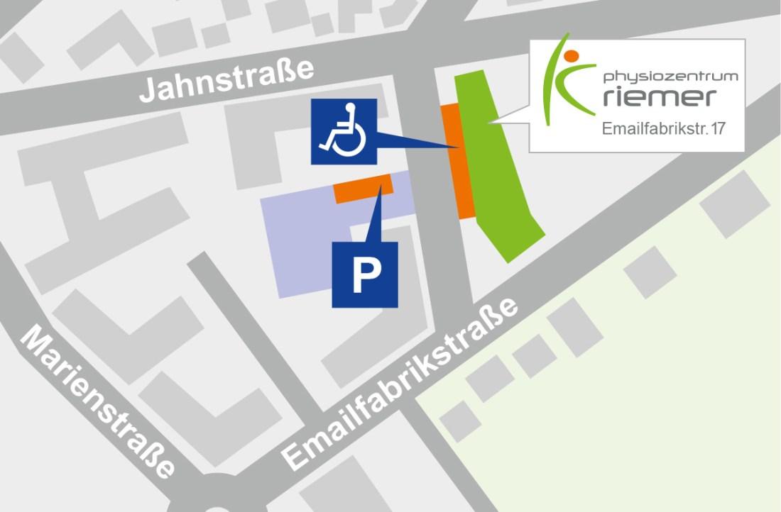 Parkplätze beim Physiozentrum Amberg