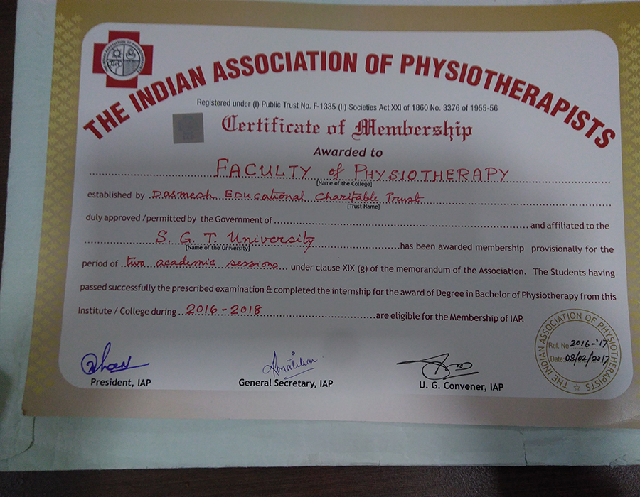 Faculty of Physiotherapy has been awarded membership by Indian