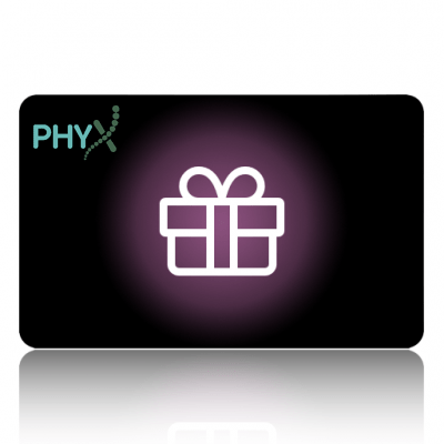 Gift card provided by Phyx, redeemable for physiotherapy telehelath consultations. Great for birthdays or holidays.