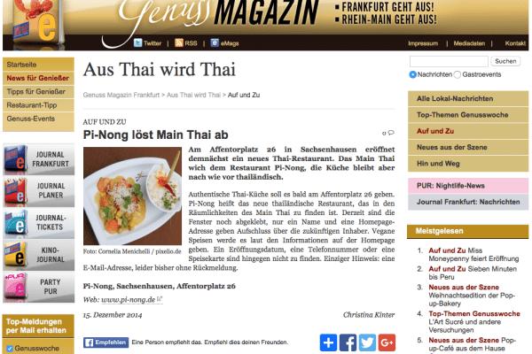 Artikel über die Eröffnung von Pi-Nong im Genussmagazin (Dez. 2014)