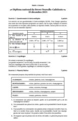 Sujet de mathématiques corrigé du brevet 2013 Nouvelle Calédonie