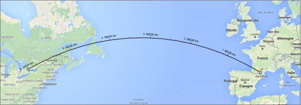 Toulouse - Toronto - Le plus court chemin selon Google