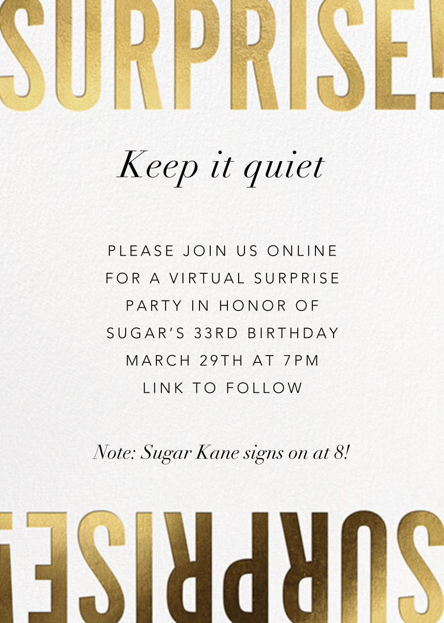 surprise party invitations send