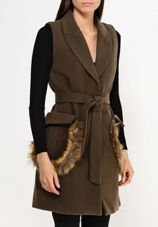 Жилет FUR TRIM WOOL GILET
