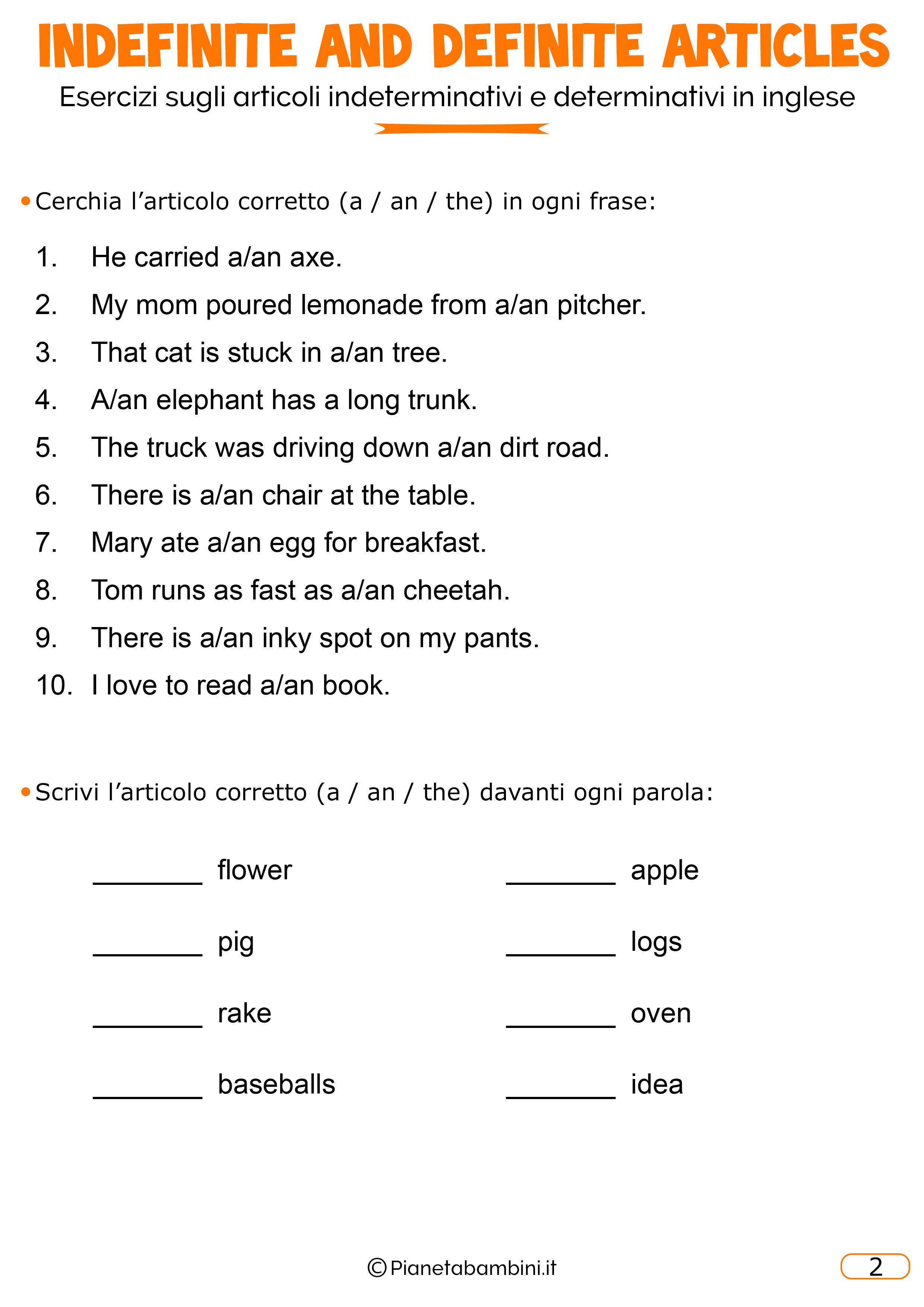 Esercizi Di Inglese Sugli Articoli Determinativi E