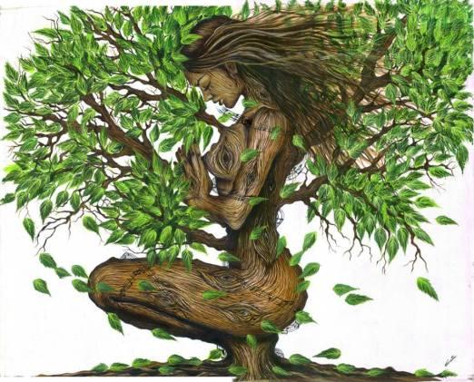 Disegno di una donna raffigurata come se fosse un albero.