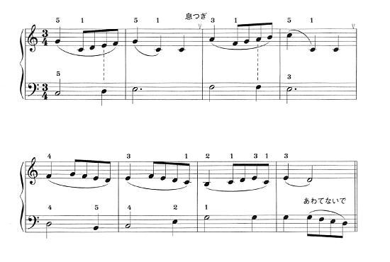 バッハのメヌエット前半の譜面