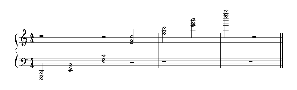 Sheet music showing all seven C chords in first inversion from low to high
