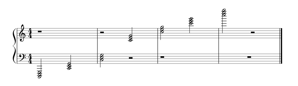 Sheet music showing all seven C chords in root position from low to high