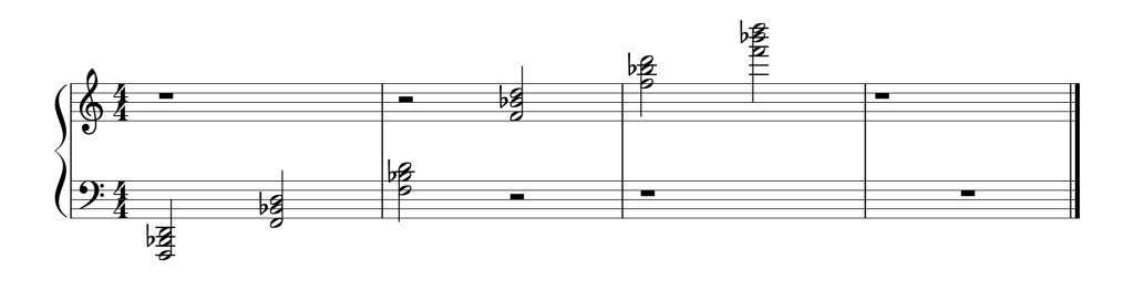 Sheet music showing all six Bb chords in second inversion from low to high