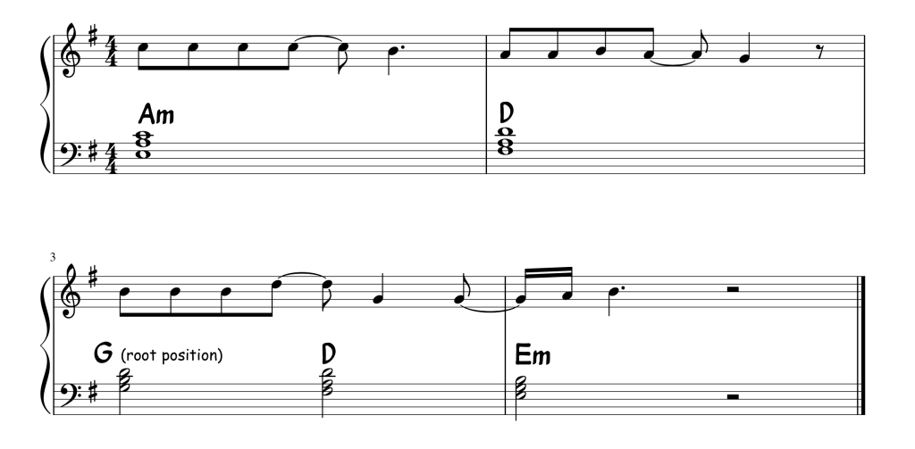 A snippet of sheet music from the song Shallow (from the film A Star Is Born)
