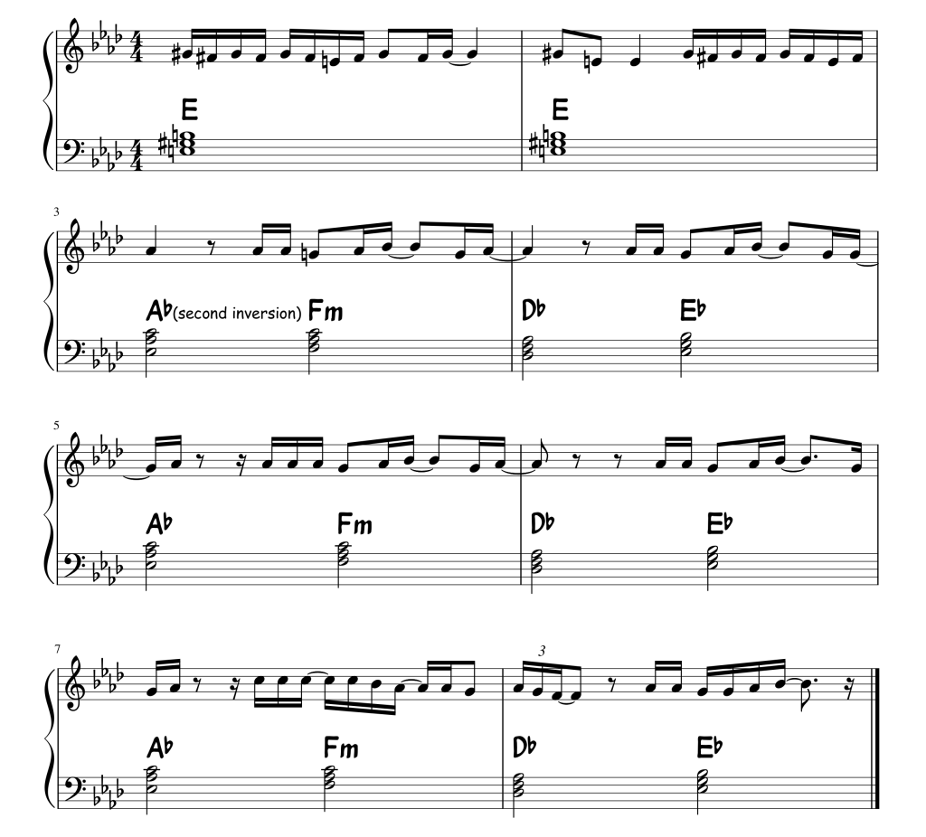 A snippet of sheet music from the song Total Eclipse Of The Heart by Bonnie Tyler