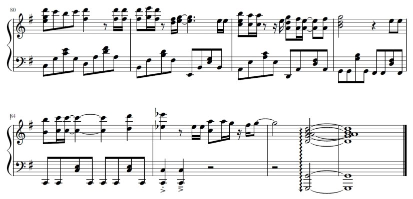 You Lie In April Piano Sheet Music - Last Two Lines