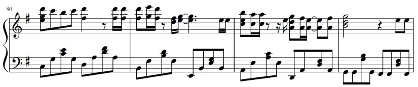 You Lie In April Piano Sheet Music - Second Last Line