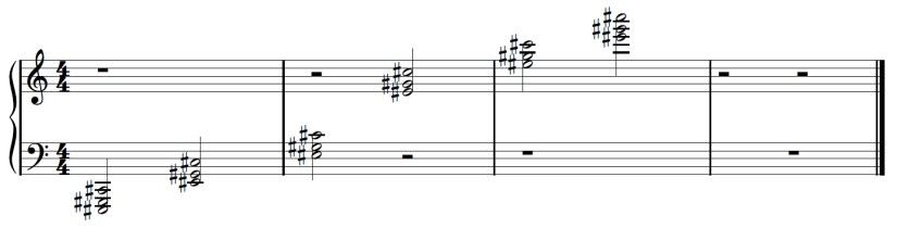 Sheet music showing all six C sharp chords in first inversion from low to high
