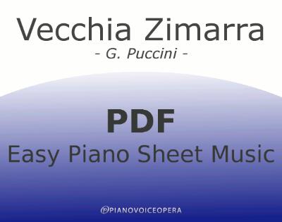Vecchia Zimarra Easy Piano Sheet Music