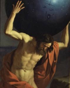 Risultati immagini per immagine della statua dell'uomo che regge il pianeta sulle spalle
