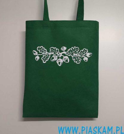 torba zielona nadruk żołędzie liście dębu