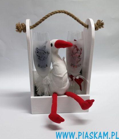 kieliszki ślub w skrzynce białe bocian
