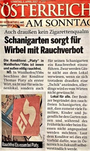 Österreich Sonntag 2. April rauchfrei Schanigarten