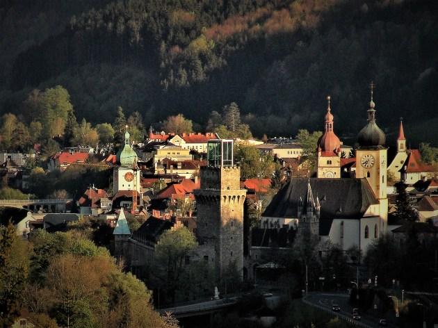 Titel Kubus Stadt spätere Zeit 3 mit Ybbs und Ybbsbrücke