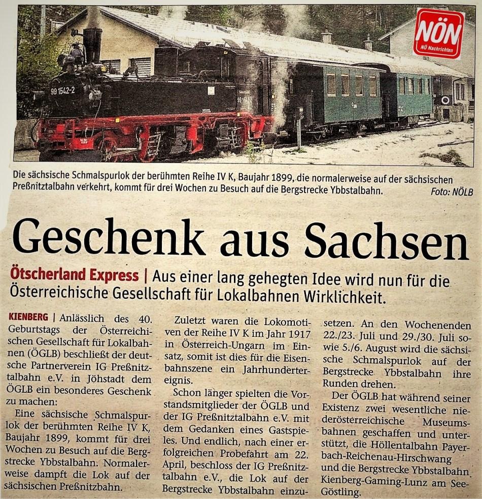 Ötscherland Dampflok LOGO Sachsen NÖN Erlauf