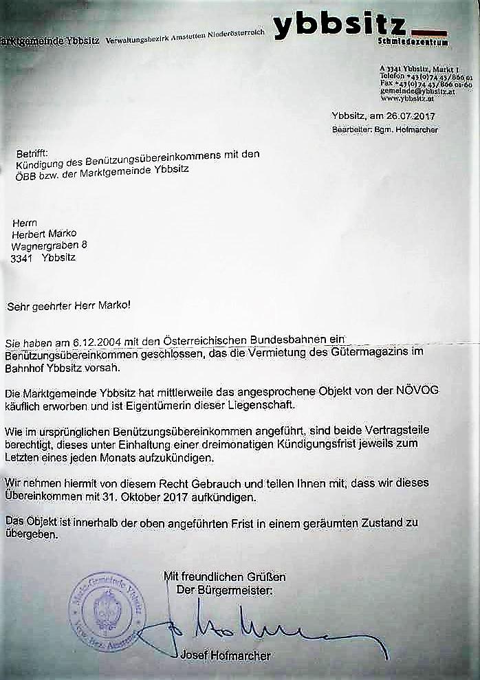 Beilage 1 Kündigung an Marko Bahnhof Ybbsitz