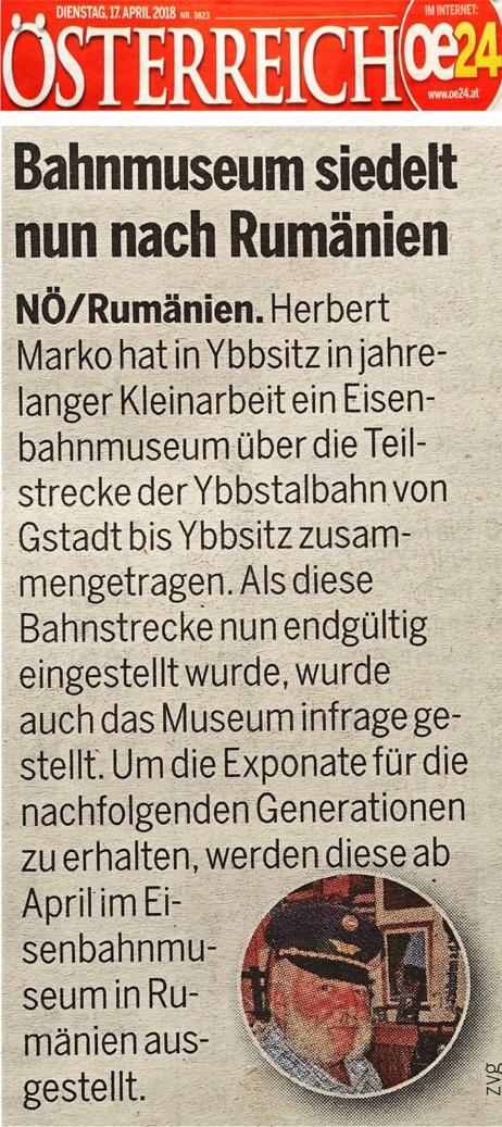 Eiseanbahnmuseum Ybbsitz Österreich 17.4.2018