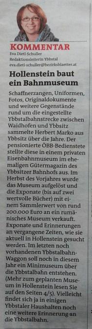 Bezirksblätter Eisenbahnmuseum Kommentar