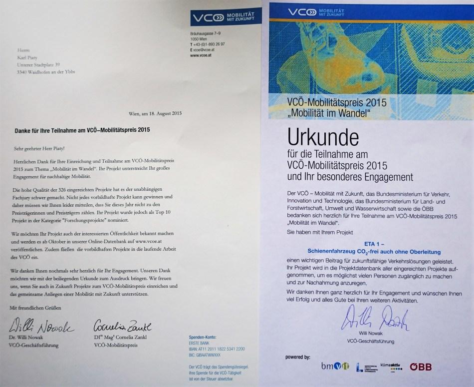 VCÖ Wettbewerb 2015 Urkunde