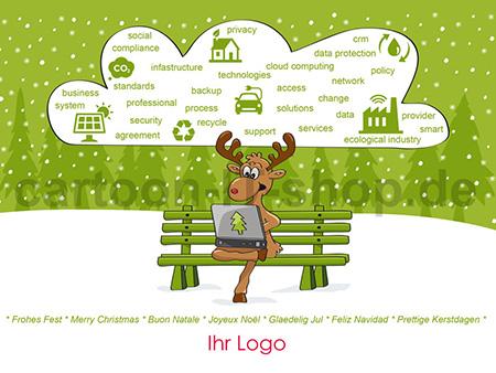 Elch Kopf Silhouette Logo Vorlage Wandsticker Eingangig Elk