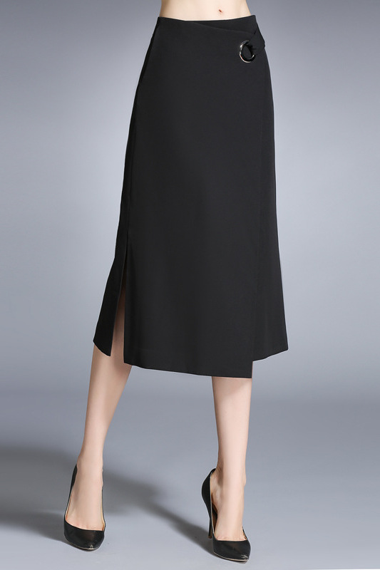 2899 Black Slit Midi Skirt