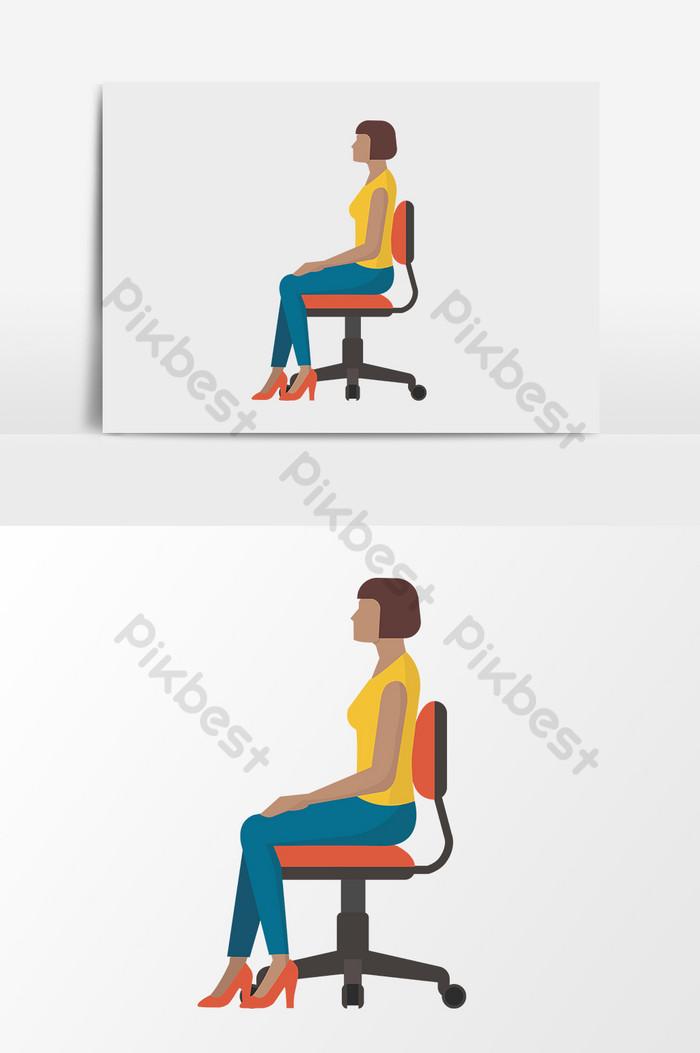 femme assise de vecteur de dessin anime
