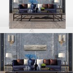 Dark Blue Multi Person Sofa And Black Glass Coffee Table Decors 3d Models Max Free Download Pikbest